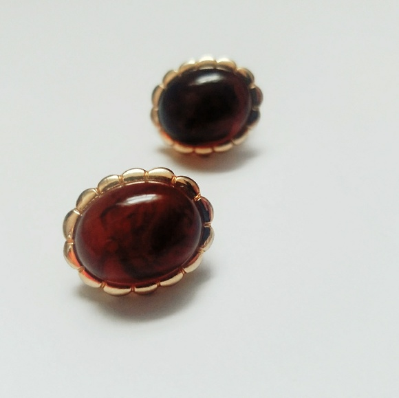 Avon Jewelry - Gold Tone Avon Clip Earrings Faux Amber Cabochon